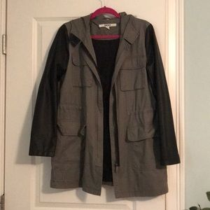 DKNY Military Cargo Jacket with Contrast Sleeves